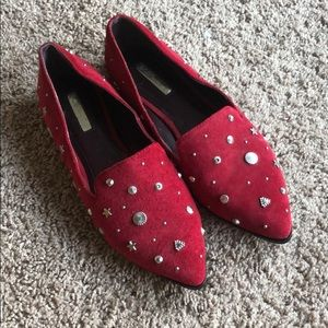BCBGeneration red leather  women flat shoes. 8.5M